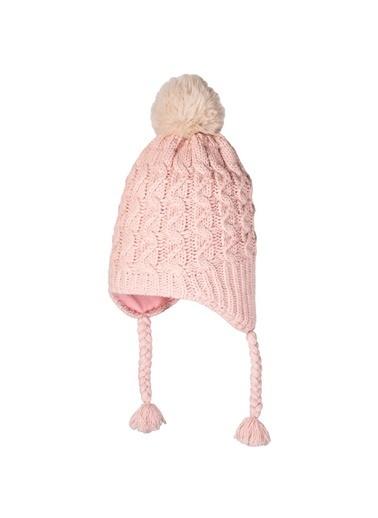 POKY Yeni Sezon Kız Çocuk 4-8 Yaş Saç Örgülü Kulaklı Polar Bere-2660-04 Pudra